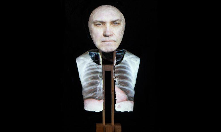 self portrait, video projection, video sculpture, self portrait